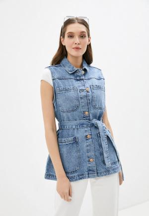 Жилет джинсовый Pieces. Цвет: голубой