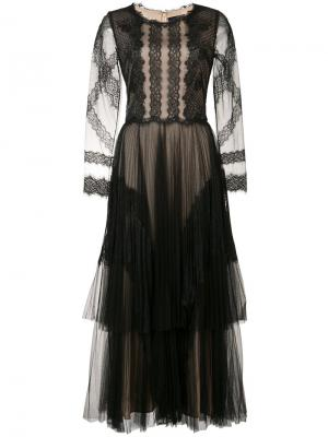 Кружевное платье с вышивкой Marchesa Notte. Цвет: чёрный
