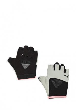 Перчатки для фитнеса PUMA. Цвет: серый