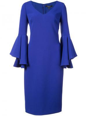 Приталенное платье миди Badgley Mischka. Цвет: синий
