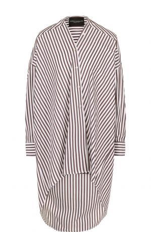Удлиненная хлопковая блуза в полоску Erika Cavallini. Цвет: коричневый