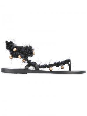 Сандалии Braids & Beads Ancient Greek Sandals. Цвет: чёрный
