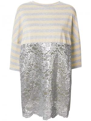 Полосатая блузка с кружевной панелью Antonio Marras. Цвет: металлический