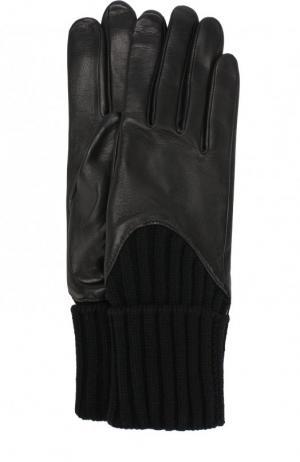 Кожаные перчатки с вязаными манжетами Agnelle. Цвет: черный