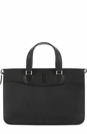 Кожаный портфель на молнии Bertoni. Цвет: черный