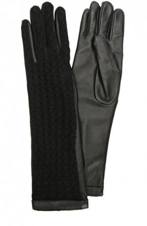 Удлиненные кожаные перчатки с отделкой из шерсти Agnelle. Цвет: черный