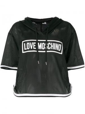 Баскетбольная футболка с капюшоном Love Moschino. Цвет: чёрный