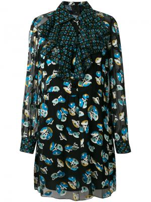 Платье с цветочным принтом Anna Sui. Цвет: чёрный