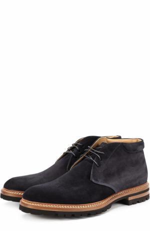 Замшевые ботинки на шнуровке Kiton. Цвет: темно-синий
