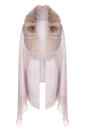 Кашемировая шаль с отделкой из меха Vintage Shades. Цвет: светло-серый