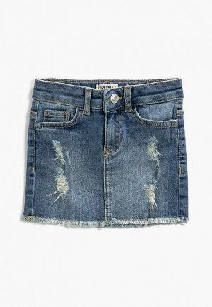 Юбка джинсовая Koton. Цвет: синий