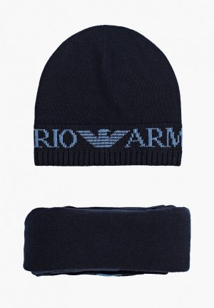 Шапка и шарф Emporio Armani. Цвет: синий