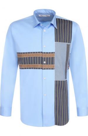 Хлопковая рубашка с контрастной отделкой Comme des Garcons. Цвет: голубой