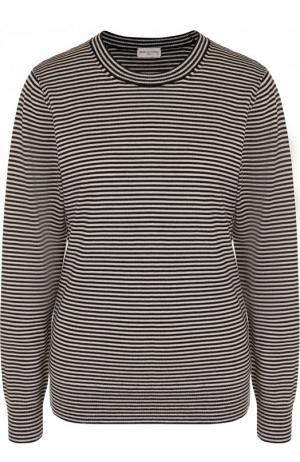 Шерстяной пуловер с круглым вырезом в полоску Dries Van Noten. Цвет: черный