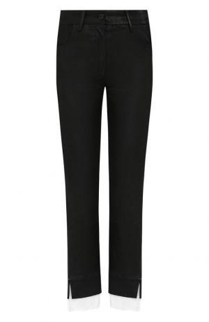 Укороченные кожаные брюки с контрастной вставкой Ann Demeulemeester. Цвет: черный