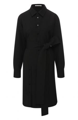 Однотонное платье-рубашка с поясом Acne Studios. Цвет: черный