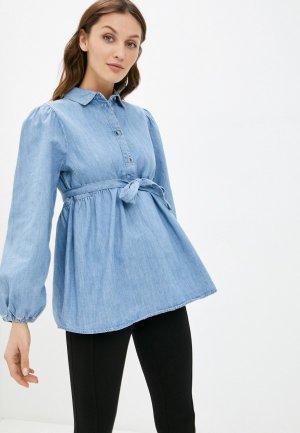 Рубашка джинсовая Mamalicious. Цвет: голубой