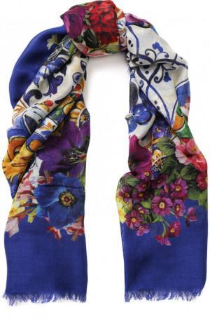 Шаль из смеси кашемира и шелка с принтом Dolce & Gabbana. Цвет: синий