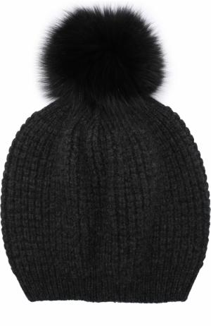 Кашемировая шапка фактурной вязки с меховым помпоном Kashja` Cashmere. Цвет: темно-серый