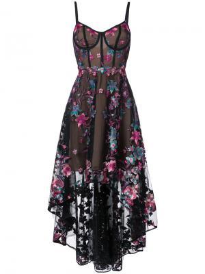Асимметричное платье с цветочной вышивкой Marchesa Notte. Цвет: чёрный