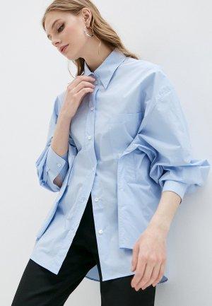 Рубашка MM6 Maison Margiela. Цвет: голубой