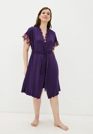 Халат и сорочка ночная Dansanti. Цвет: фиолетовый