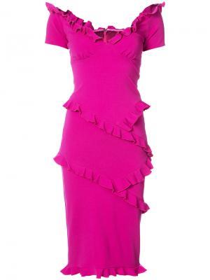 Облегающее платье с оборками Nicole Miller. Цвет: розовый и фиолетовый