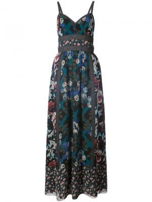 Платье с цветочным принтом Anna Sui. Цвет: синий