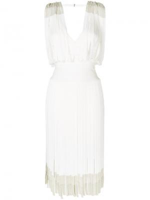 Платье шифт с бахромой Hervé Léger. Цвет: белый