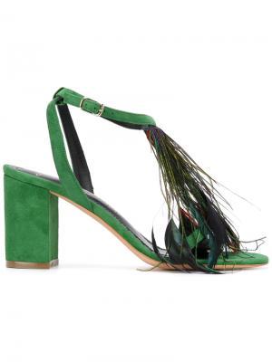 Босоножки с перьями и открытым носком Jean-Michel Cazabat. Цвет: зелёный