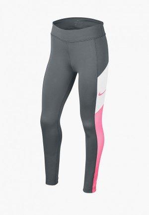 Тайтсы Nike. Цвет: серый