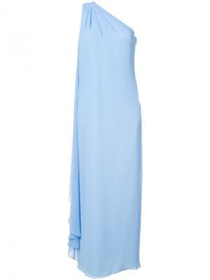 Вечернее платье на одно плечо Badgley Mischka. Цвет: синий