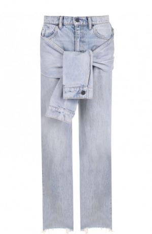 Джинсы прямого кроя с потертостями Denim X Alexander Wang. Цвет: голубой