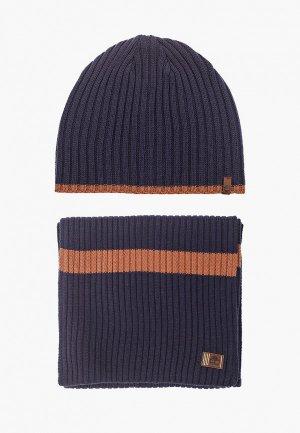 Шапка и шарф Timberland. Цвет: синий