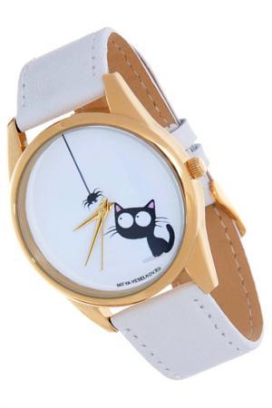 Часы Кошка и паучок MITYA VESELKOV. Цвет: белый