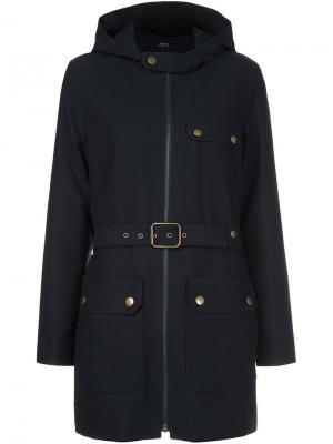 Пальто с поясом A.P.C.. Цвет: синий