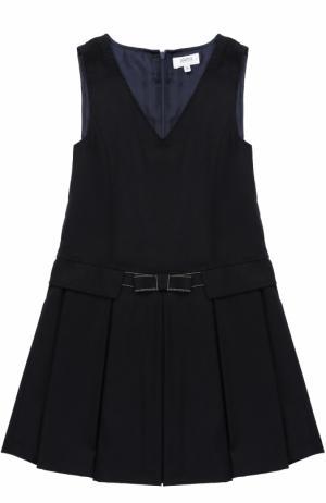 Мини-платье из смеси шерсти и полиэстра с защипами бантом Aletta. Цвет: темно-синий