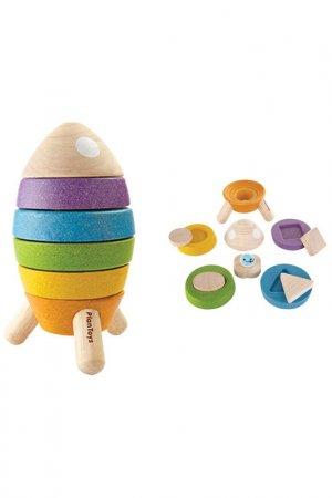 Пирамидка Ракета Plan Toys. Цвет: желтый