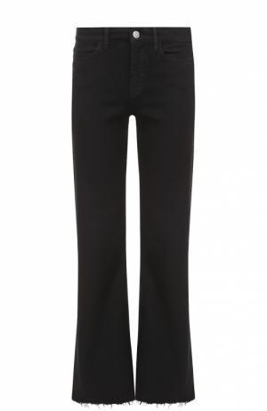 Укороченные расклешенные джинсы с бахромой MiH Jeans. Цвет: черный