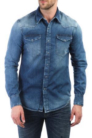 Джинсовая рубашка FREESOUL. Цвет: синий