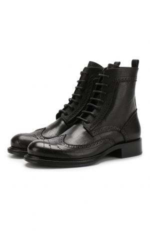 Кожаные ботинки с брогированием на шнуровке Ann Demeulemeester. Цвет: черный