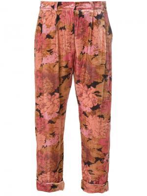 Укороченные брюки с цветочным принтом Mes Demoiselles. Цвет: многоцветный