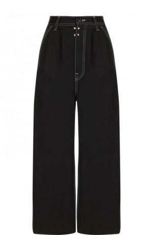 Укороченные широкие джинсы Mm6. Цвет: черный
