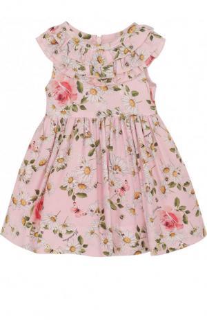 Платье из вискозы с принтом и оборками Monnalisa. Цвет: розовый