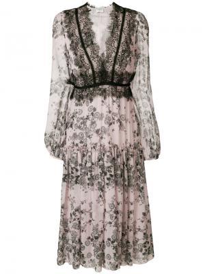 Платье с цветочным принтом Giambattista Valli. Цвет: розовый и фиолетовый