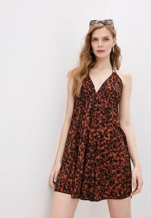 Платье пляжное Pilyq. Цвет: коричневый