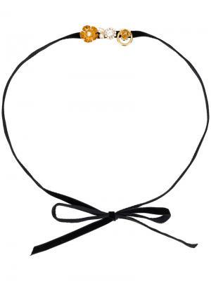 Ободок для волос с цветочным украшением Ca&Lou. Цвет: чёрный