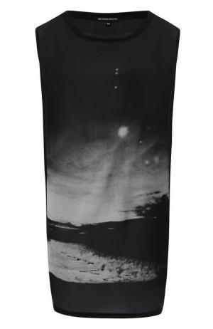 Удлиненный шелковый топ с принтом Ann Demeulemeester. Цвет: черный