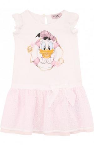 Хлопковое мини-платье с кружевной отделкой Monnalisa. Цвет: розовый