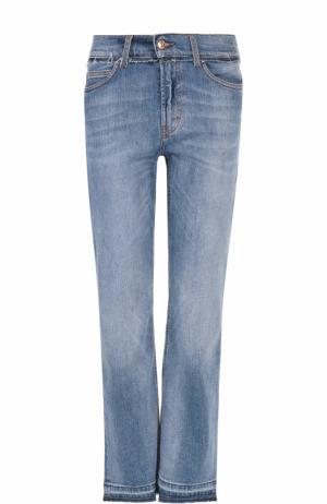 Укороченные джинсы прямого кроя с потертостями Escada Sport. Цвет: голубой